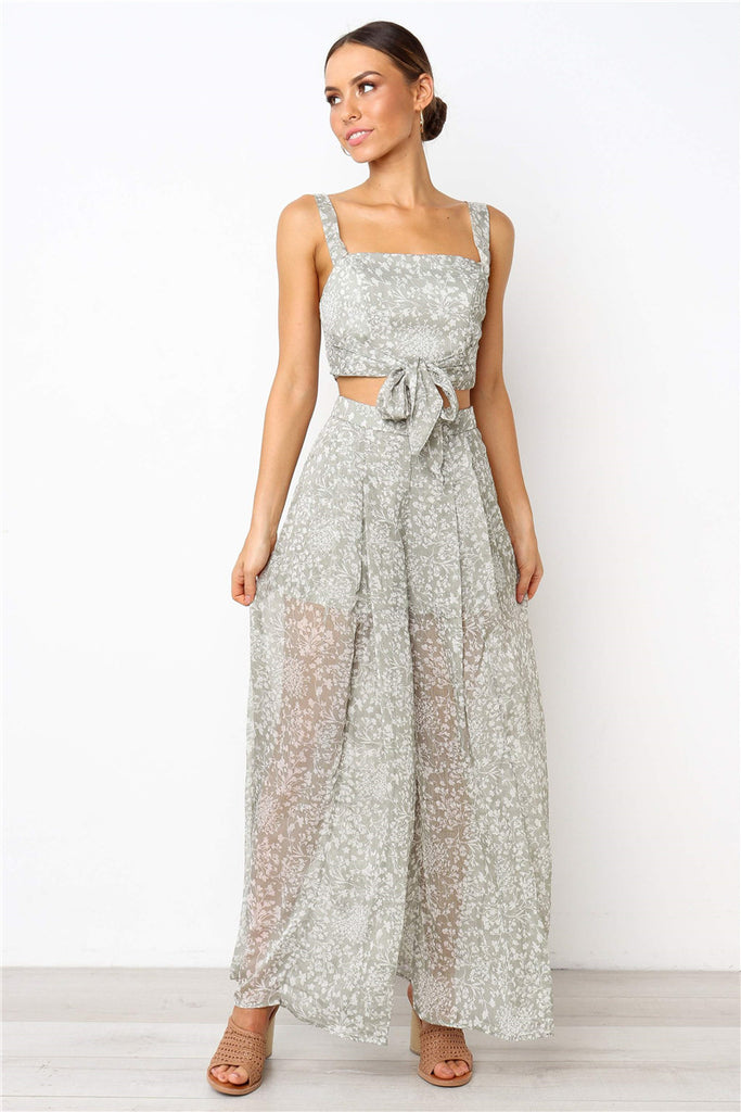 2 piece Jumpsuit- Pant & Crop Top