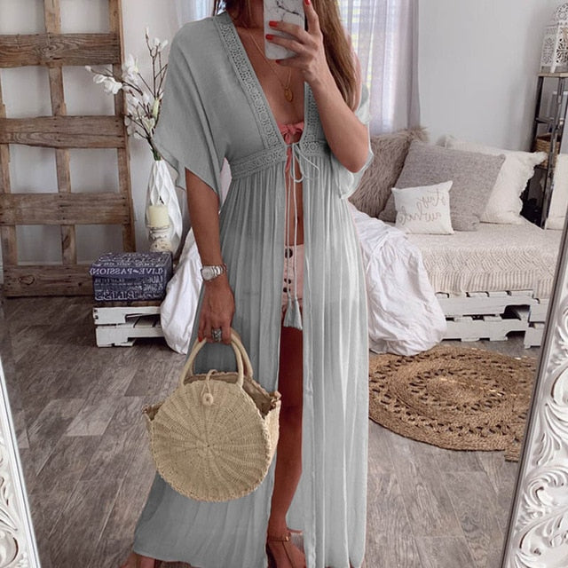Drawstring Kimono Beach Cover Up - multiple colours