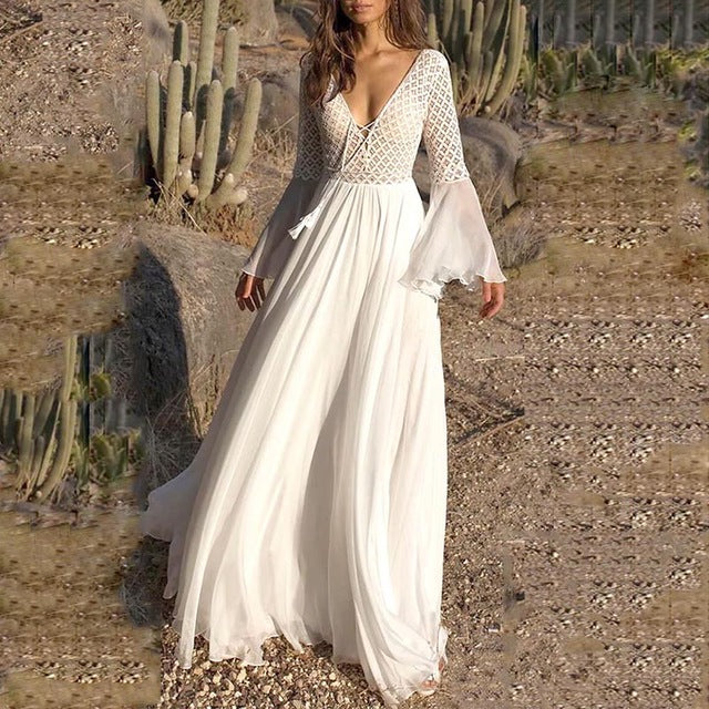 white lace maxi dress, white lace boho maxi dress, flare sleeve boho white lace maxi