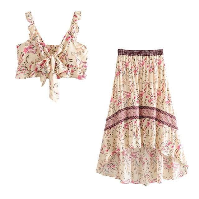 boho festival skirt and top