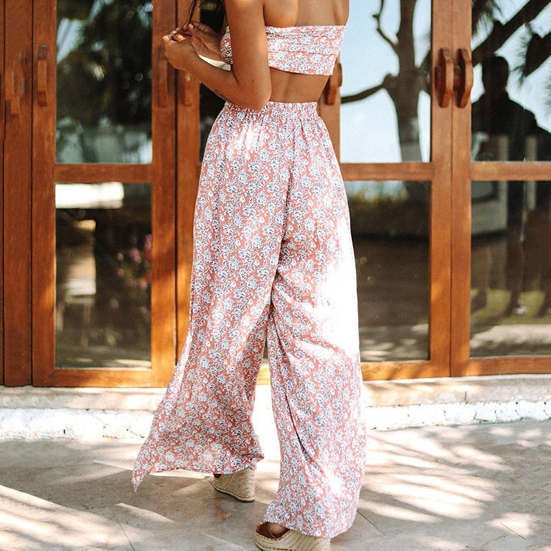 matching pants and top set, boho two piece set, boho split pants and matching boho top