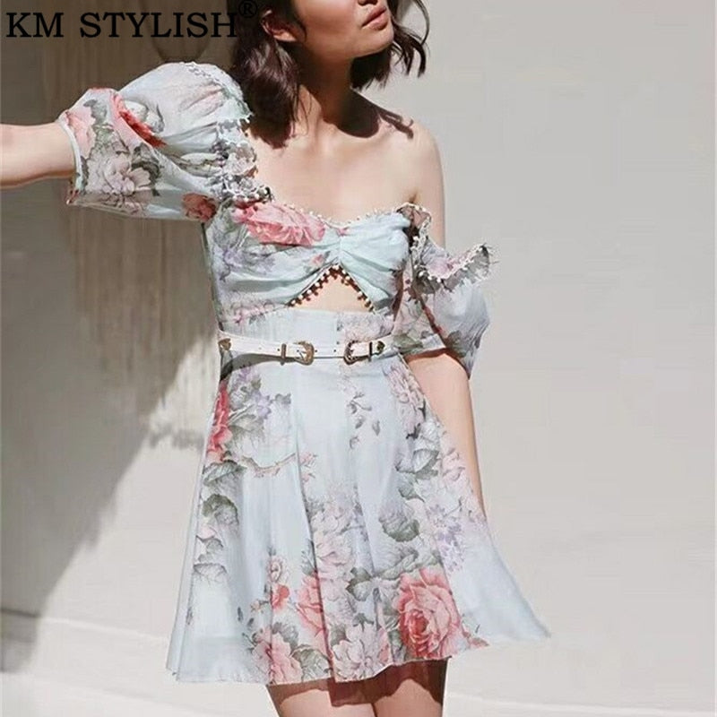 Runway Hollow out Floral Dress
