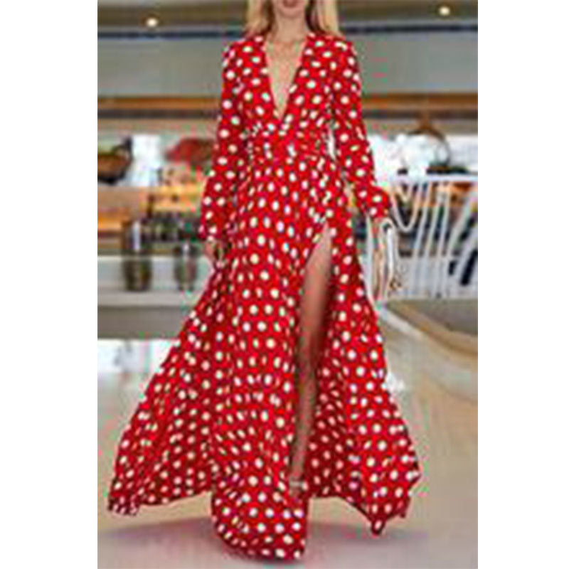 red Polka Dot Runway Dress, redpolka dot dress, polka dot maxi dress, polka dot red maxi dress