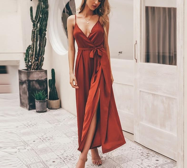 Red Spaghetti strap Jumpsuit, red jumpsuit, red jumpsuit with splits