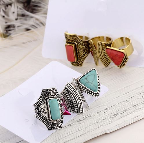 Boho 3 piece ring set