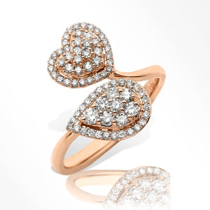 14KR 0.60ctw Diamond Pear and Heart Cluster Two Stone Ring