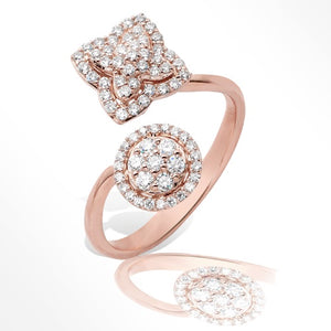 14KR 0.50ctw Diamond XO Cluster Two Stone Ring