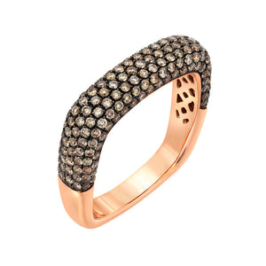 14KT Gold Brown Diamond Square Ring