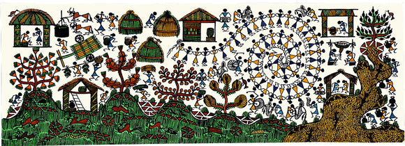 Tribal Village Scene - Handmade Warli Painting