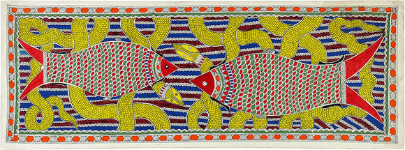 Madhubani Painting of Fishes 2420