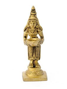 "Brass Carved Statue ""Lady Holding Oill Lamp"""