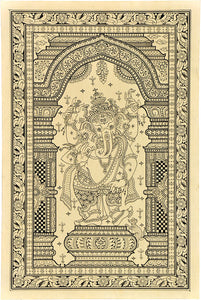 Chaturbhuj God Ganesha - Paata Painting