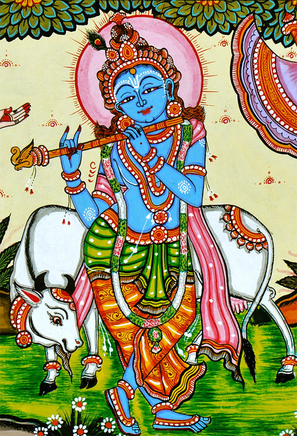 Shri Krishna as Gau Gopala - Patachitra Painting