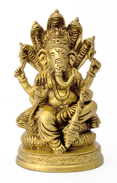 Lord Ganesha Seated on Sheshnaag Brass Statue