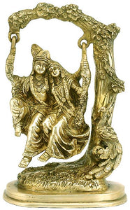 Radha Krishna Swinging (Jhula) on Tree Brass Statue 3271