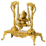 Ganesha Seated on Swing Supported by Peacocks