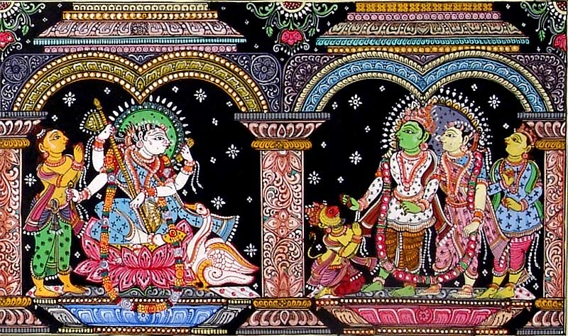 Hindu God and Goddess Indian Folk Art Painting 3494