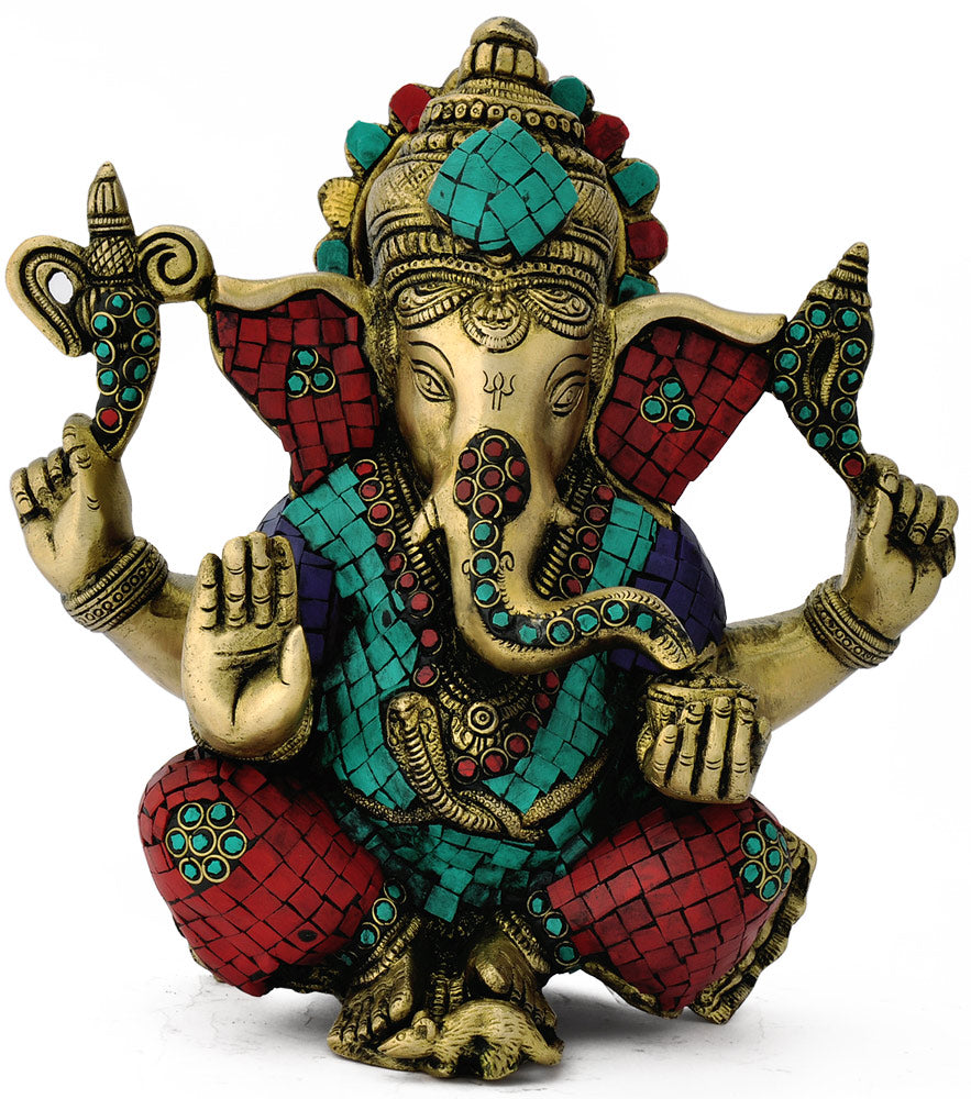 Collectibles Exquisite Lord Ganesha handcarved Brass Statue for decor 4743