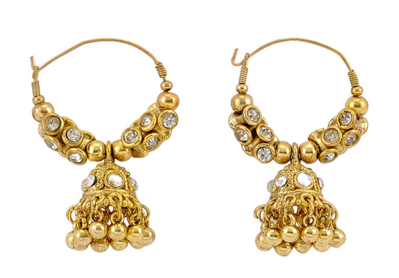 Golden Jhumki Embedded with Crystals