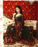 Elegant Black Sari with Antique Golden Polka Dots & Unique Sequins work