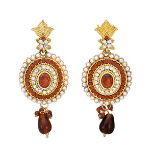 Studded Red and White Stone Dangle & Drop Earring