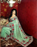 Green Georgette Sari with Heavy Embroidery and Sitara Work