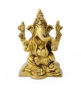 Lord Ganpati Handcarved Brass Sculpture