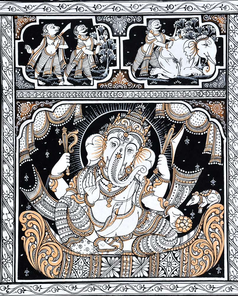 Handmade Paata Painting of Lord Ganesha Birth Story