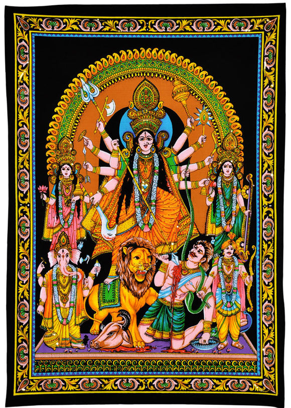 Goddess Durga Killing Demon - Cotton Painting