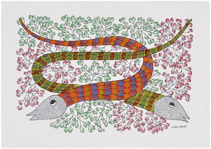 Snake Couple - Gond Painting