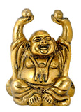 Golden Brass Lauhging Budha Statue