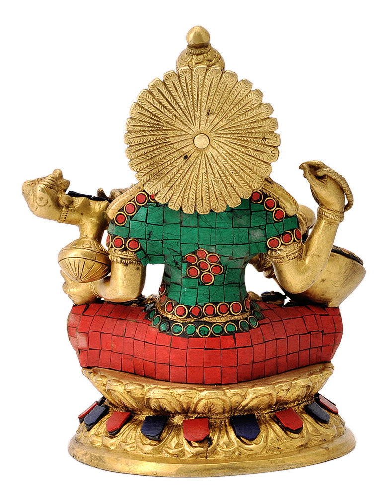Devi Saraswati Brass Sculpture with Colored Stone Decor