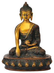 Beautiful Buddha Golden Brown Finish Brass Statue
