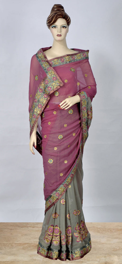 Light Purple  Saree With Beautiful Work