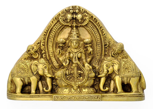 Goddess Lakshmi Carved Brass Wall Hanging