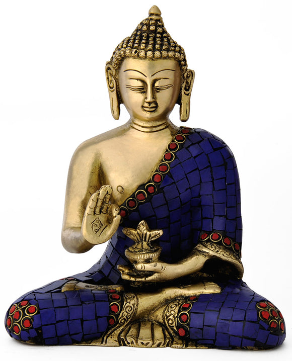 Brass Handcarved Lord Buddha Sculpture 4753