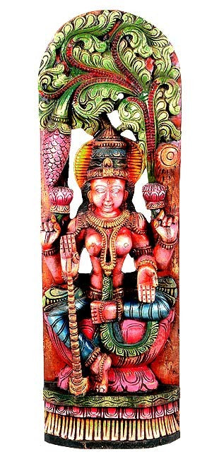 Colorful Wood Statuette - Goddess Lakshmi