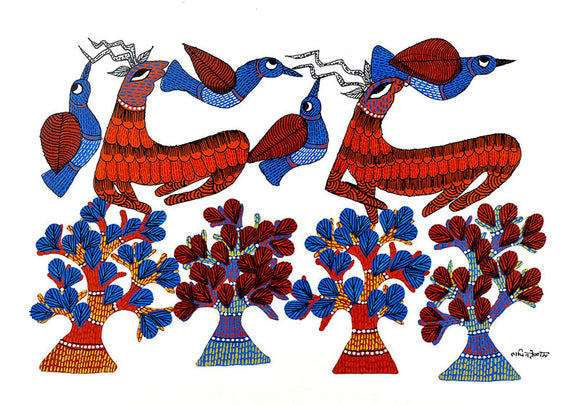Deer & Bird Gond Art Panting