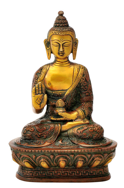 Brass Hand Craved Medicine Buddha