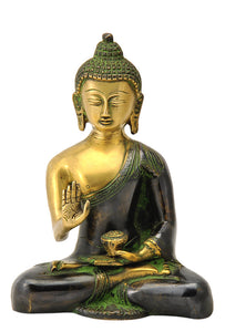 Blessing Lord Buddha Brass Figure