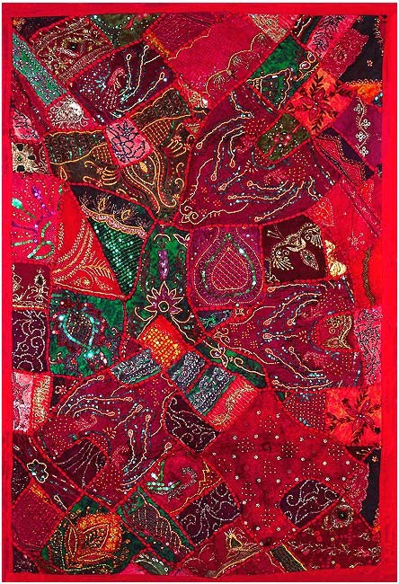 Embroidered Wall Tapestry - Red Sapphire