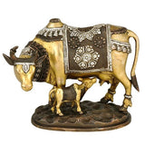 Motherly Cow Feeding Her Baby Calf - Brass Statue