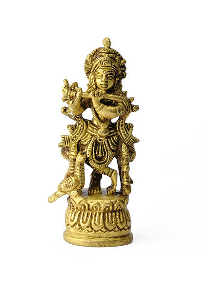 God Krishna Miniature Brass Sculpture
