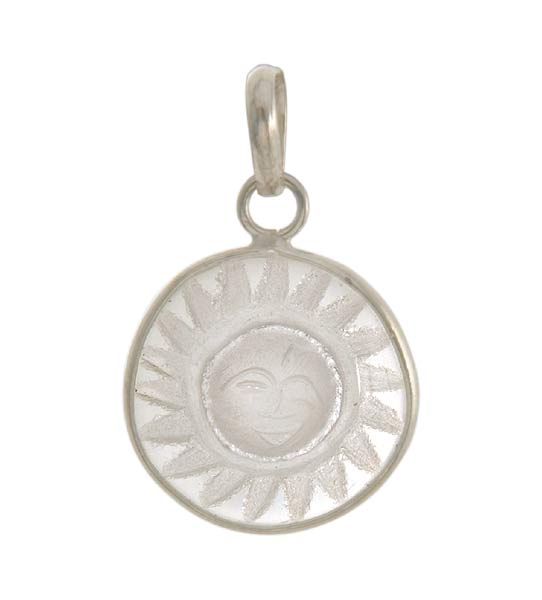 Quartz Crystal Craved Sun God Pendant