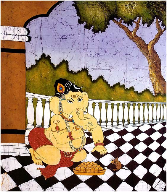 Chubby Lord Ganesha - Cotton Batik Painting