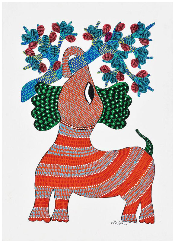 Baby Elephant Gond Tribal  Painting