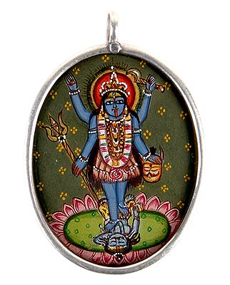 Goddess Kali - Hand Painted Silver Pendant