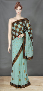 Beautiful Sea Green Saree with Zari and Sequins Work