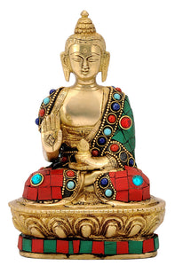 Blessing Lord Buddha Brass Statue with Stones
