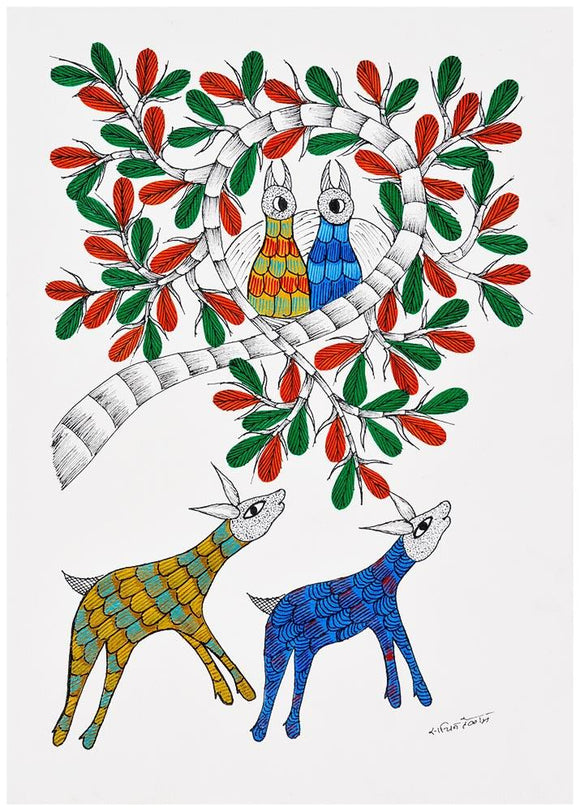Life in the Jungle -  Gond Painting